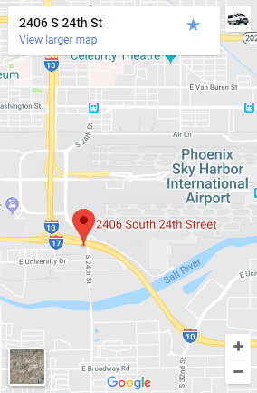 Airport Shuttle of Phoenix is right next to PHX Sky Harbor; this map shows you just how close we are