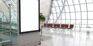 nice picture white screen in airport with red seats