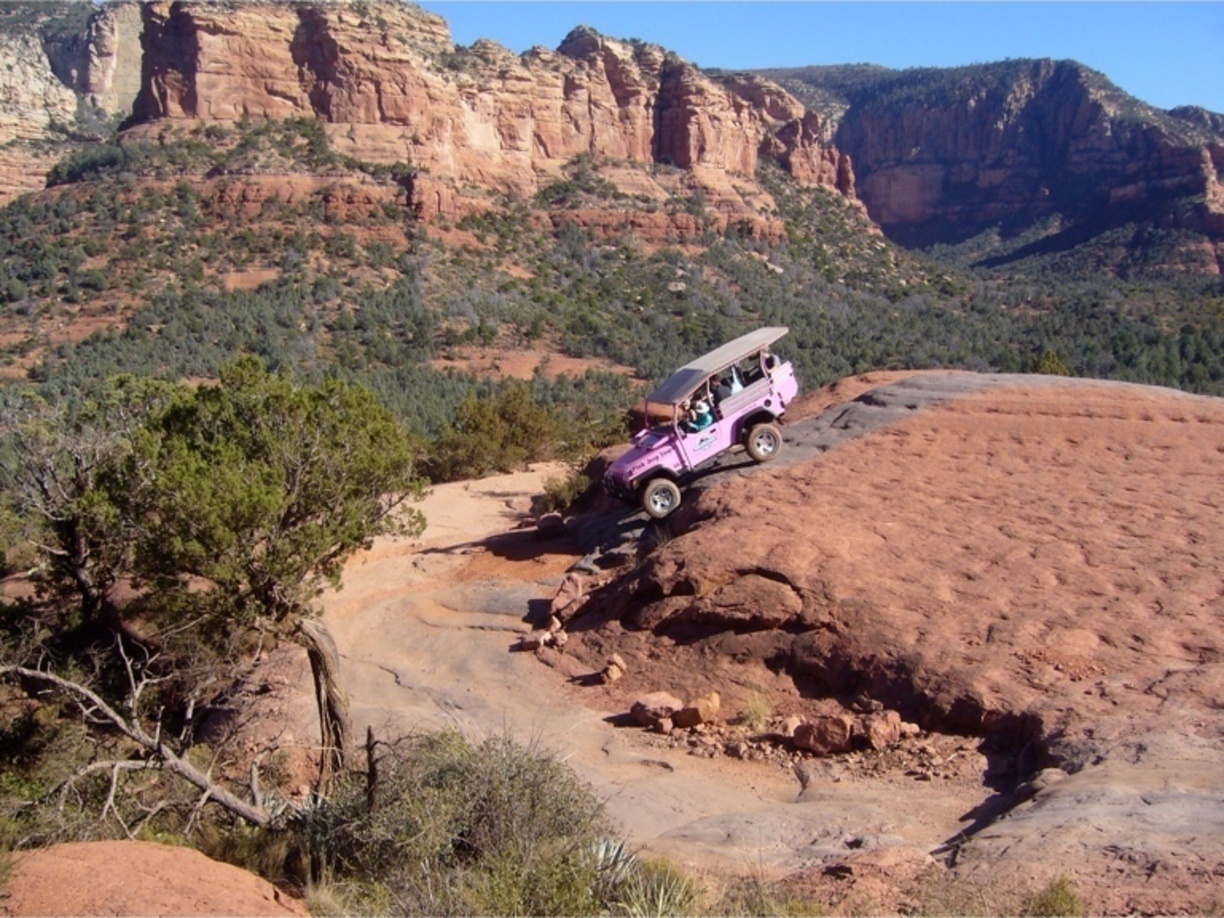 pink jeep offroading